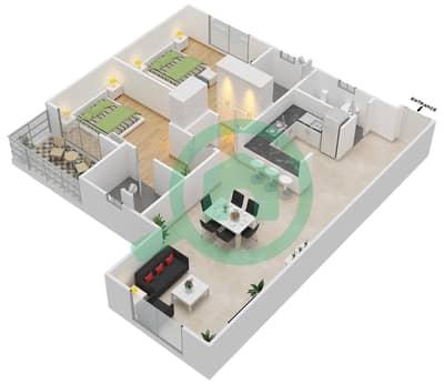 المخططات الطابقية لتصميم النموذج 3 شقة 2 غرفة نوم - دار الجوهرة ريزيدنس