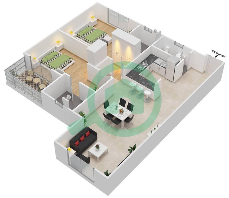 المخططات الطابقية لتصميم النموذج 3 شقة 2 غرفة نوم - دار الجوهرة ريزيدنس 3D