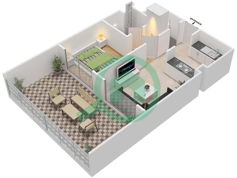 المخططات الطابقية لتصميم النموذج 2 شقة 1 غرفة نوم - دار الجوهرة ريزيدنس 3D
