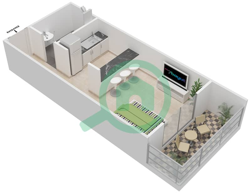 المخططات الطابقية لتصميم النموذج 1 شقة  - دار الجوهرة ريزيدنس 3D