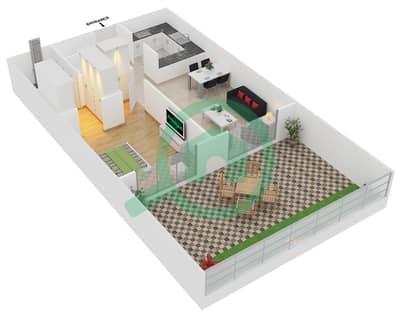 المخططات الطابقية لتصميم النموذج 1 UNITS G02 شقة 1 غرفة نوم - كريستال ريزيدنس