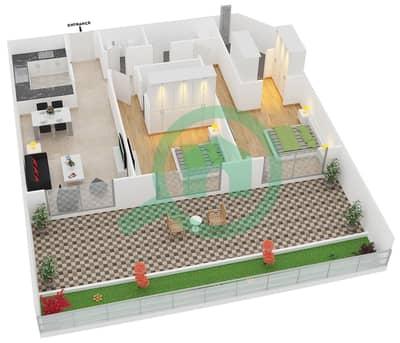 المخططات الطابقية لتصميم النموذج 1 UNIT G01 شقة 2 غرفة نوم - كريستال ريزيدنس