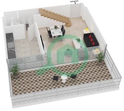 المخططات الطابقية لتصميم النموذج 1 UNIT 402 شقة 1 غرفة نوم - كريستال ريزيدنس