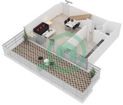 المخططات الطابقية لتصميم النموذج 1 UNIT 401 شقة 2 غرفة نوم - كريستال ريزيدنس