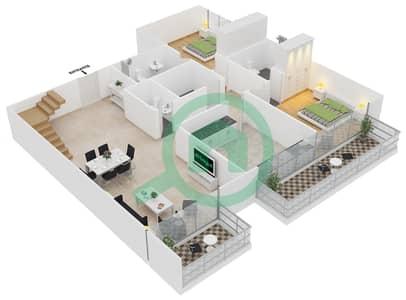 المخططات الطابقية لتصميم النموذج 1 UNIT 411 شقة 3 غرف نوم - كريستال ريزيدنس