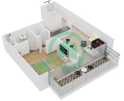 المخططات الطابقية لتصميم النموذج / الوحدة 8 UNIT 132,233,333,425 شقة 1 غرفة نوم - كريستال ريزيدنس