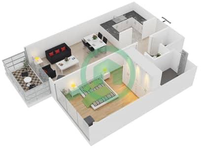المخططات الطابقية لتصميم النموذج / الوحدة 7 UNIT 227,327,419 شقة 1 غرفة نوم - كريستال ريزيدنس