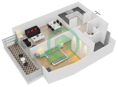 المخططات الطابقية لتصميم النموذج / الوحدة 6 UNIT 223 شقة 1 غرفة نوم - كريستال ريزيدنس