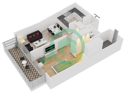 المخططات الطابقية لتصميم النموذج 5 UNITS 222 شقة 1 غرفة نوم - كريستال ريزيدنس