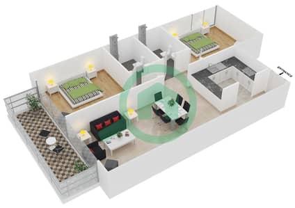 المخططات الطابقية لتصميم النموذج 5 UNITS 134,236,336 شقة 2 غرفة نوم - كريستال ريزيدنس