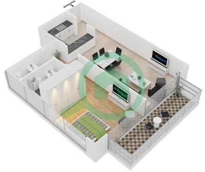 المخططات الطابقية لتصميم النموذج 4 UNITS 217 شقة 1 غرفة نوم - كريستال ريزيدنس