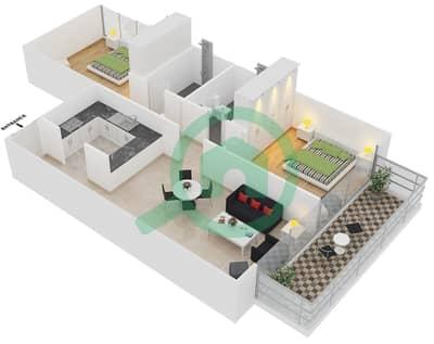 المخططات الطابقية لتصميم النموذج 4 UNITS 218 شقة 2 غرفة نوم - كريستال ريزيدنس