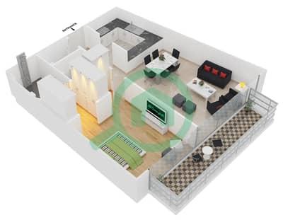 المخططات الطابقية لتصميم النموذج 3 UNITS 212 شقة 1 غرفة نوم - كريستال ريزيدنس