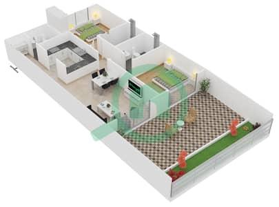 المخططات الطابقية لتصميم النموذج 3 UNIT G17 شقة 2 غرفة نوم - كريستال ريزيدنس