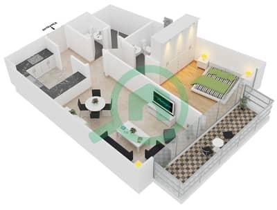 المخططات الطابقية لتصميم النموذج 2 UNITS 201 شقة 1 غرفة نوم - كريستال ريزيدنس