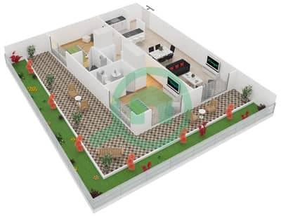 المخططات الطابقية لتصميم النموذج 2 UNIT G08 شقة 2 غرفة نوم - كريستال ريزيدنس