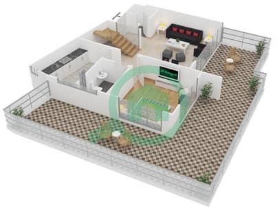 المخططات الطابقية لتصميم النموذج 2 UNIT 436 شقة 3 غرف نوم - كريستال ريزيدنس