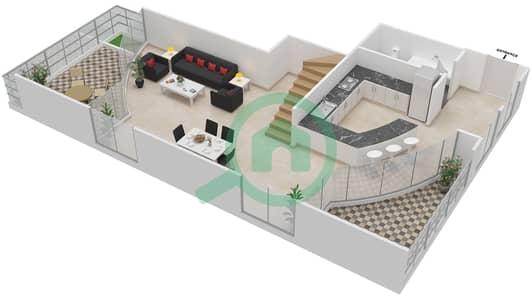 المخططات الطابقية لتصميم الوحدة 315 شقة 2 غرفة نوم - كابودوشا