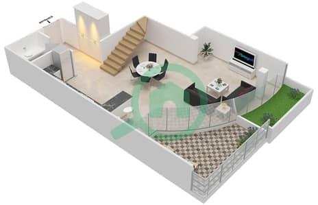 المخططات الطابقية لتصميم الوحدة 314 شقة 2 غرفة نوم - كابودوشا