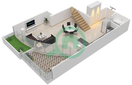 المخططات الطابقية لتصميم الوحدة 302 شقة 2 غرفة نوم - كابودوشا