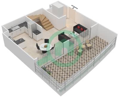 المخططات الطابقية لتصميم الوحدة 318 شقة 1 غرفة نوم - كابودوشا