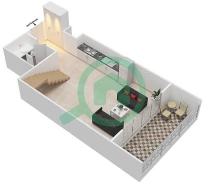 المخططات الطابقية لتصميم الوحدة 309 شقة 1 غرفة نوم - كابودوشا