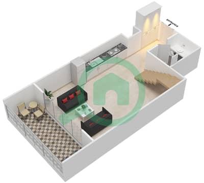 المخططات الطابقية لتصميم الوحدة 307 شقة 1 غرفة نوم - كابودوشا