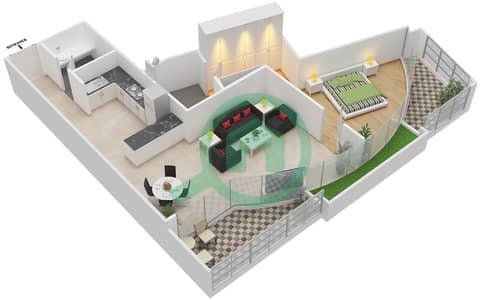 المخططات الطابقية لتصميم الوحدة 310 شقة 1 غرفة نوم - كابودوشا