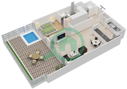 المخططات الطابقية لتصميم الوحدة 204 شقة 1 غرفة نوم - كابودوشا