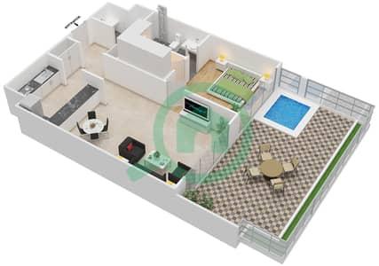 المخططات الطابقية لتصميم الوحدة 203 شقة 1 غرفة نوم - كابودوشا