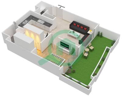 المخططات الطابقية لتصميم الوحدة 116 شقة 1 غرفة نوم - كابودوشا