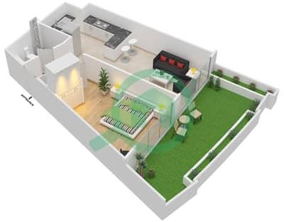 المخططات الطابقية لتصميم الوحدة 115 شقة 1 غرفة نوم - كابودوشا