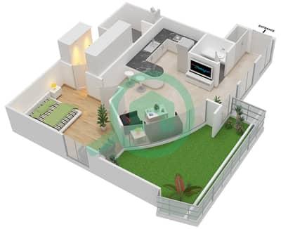 المخططات الطابقية لتصميم الوحدة 114 شقة 1 غرفة نوم - كابودوشا