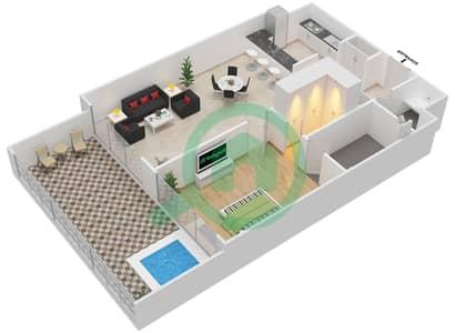 المخططات الطابقية لتصميم الوحدة 111 شقة 1 غرفة نوم - كابودوشا