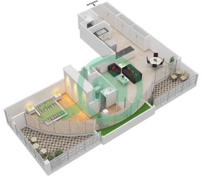 المخططات الطابقية لتصميم الوحدة 106 شقة 1 غرفة نوم - كابودوشا