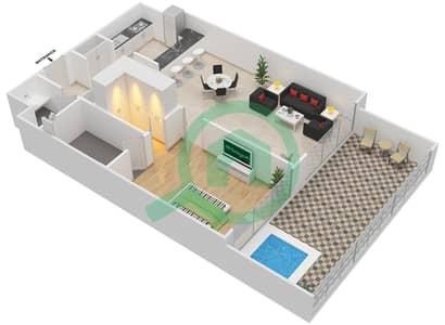 المخططات الطابقية لتصميم الوحدة 104 شقة 1 غرفة نوم - كابودوشا