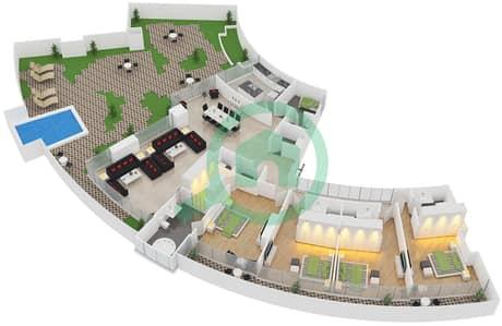 المخططات الطابقية لتصميم النموذج D شقة 4 غرف نوم - سويتس إن ذا سكاي