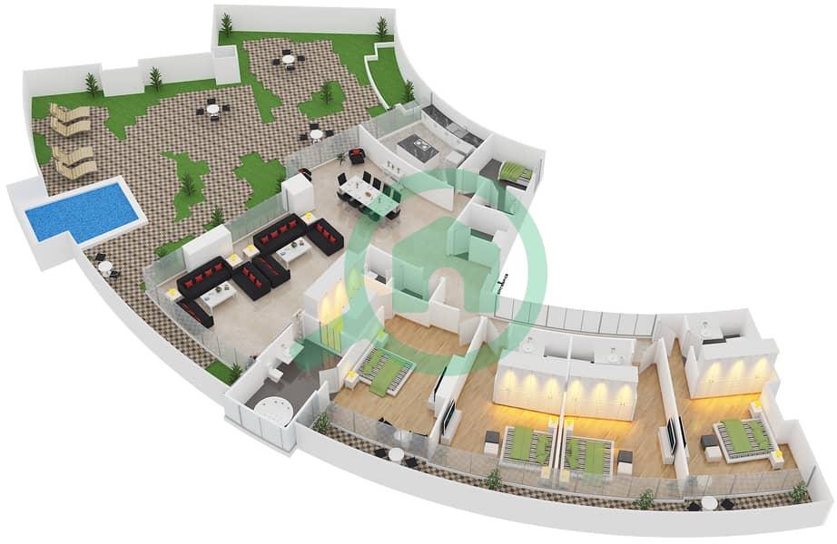 المخططات الطابقية لتصميم النموذج D شقة 4 غرف نوم - سويتس إن ذا سكاي 3D