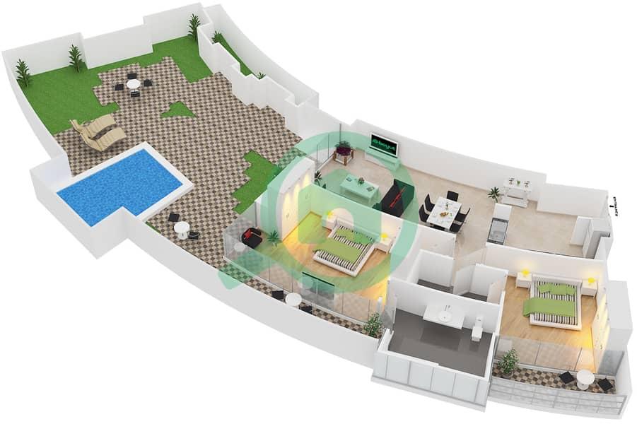 المخططات الطابقية لتصميم النموذج B شقة 2 غرفة نوم - سويتس إن ذا سكاي 3D