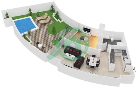 المخططات الطابقية لتصميم النموذج C1 شقة 1 غرفة نوم - سويتس إن ذا سكاي