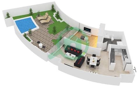 المخططات الطابقية لتصميم النموذج C شقة 1 غرفة نوم - سويتس إن ذا سكاي