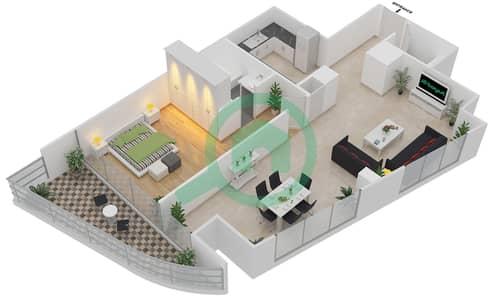 المخططات الطابقية لتصميم الوحدة 109,209,309 شقة 1 غرفة نوم - موجات الشمال