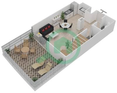 المخططات الطابقية لتصميم الوحدة 410 شقة 1 غرفة نوم - موجات الشمال