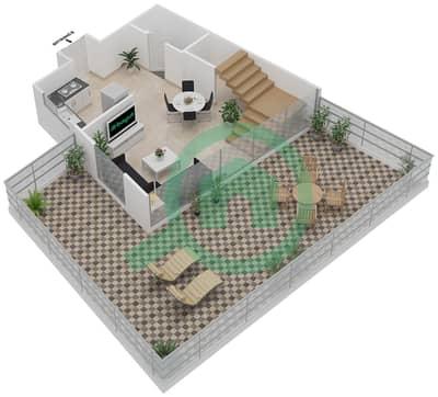 المخططات الطابقية لتصميم الوحدة 411 شقة 1 غرفة نوم - موجات الشمال