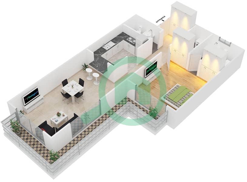 المخططات الطابقية لتصميم النموذج 3 شقة 1 غرفة نوم - سبيكا ريسيدينتل 3D