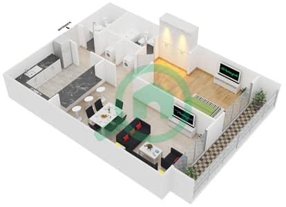 Spica Residential - 1 Bedroom Apartment Type 2 Floor plan