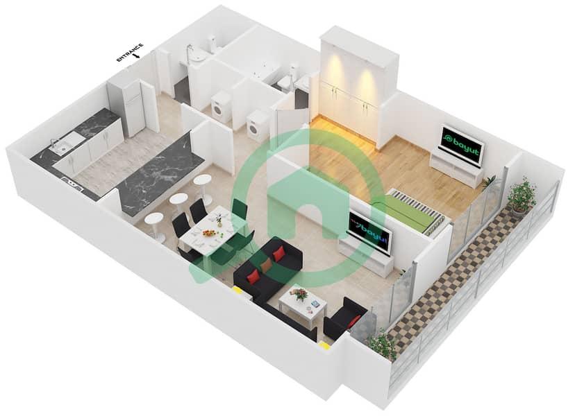 المخططات الطابقية لتصميم النموذج 2 شقة 1 غرفة نوم - سبيكا ريسيدينتل 3D