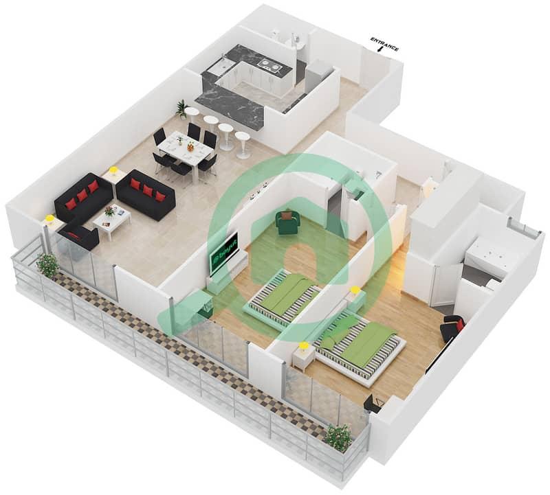 المخططات الطابقية لتصميم النموذج 2 شقة 2 غرفة نوم - سبيكا ريسيدينتل 3D