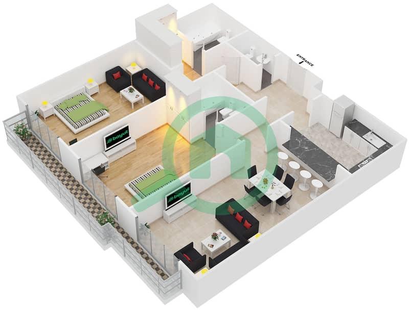 المخططات الطابقية لتصميم النموذج 1 شقة 2 غرفة نوم - سبيكا ريسيدينتل 3D