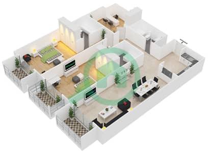 Botanica - 2 Beds Apartments type 3 Floor plan